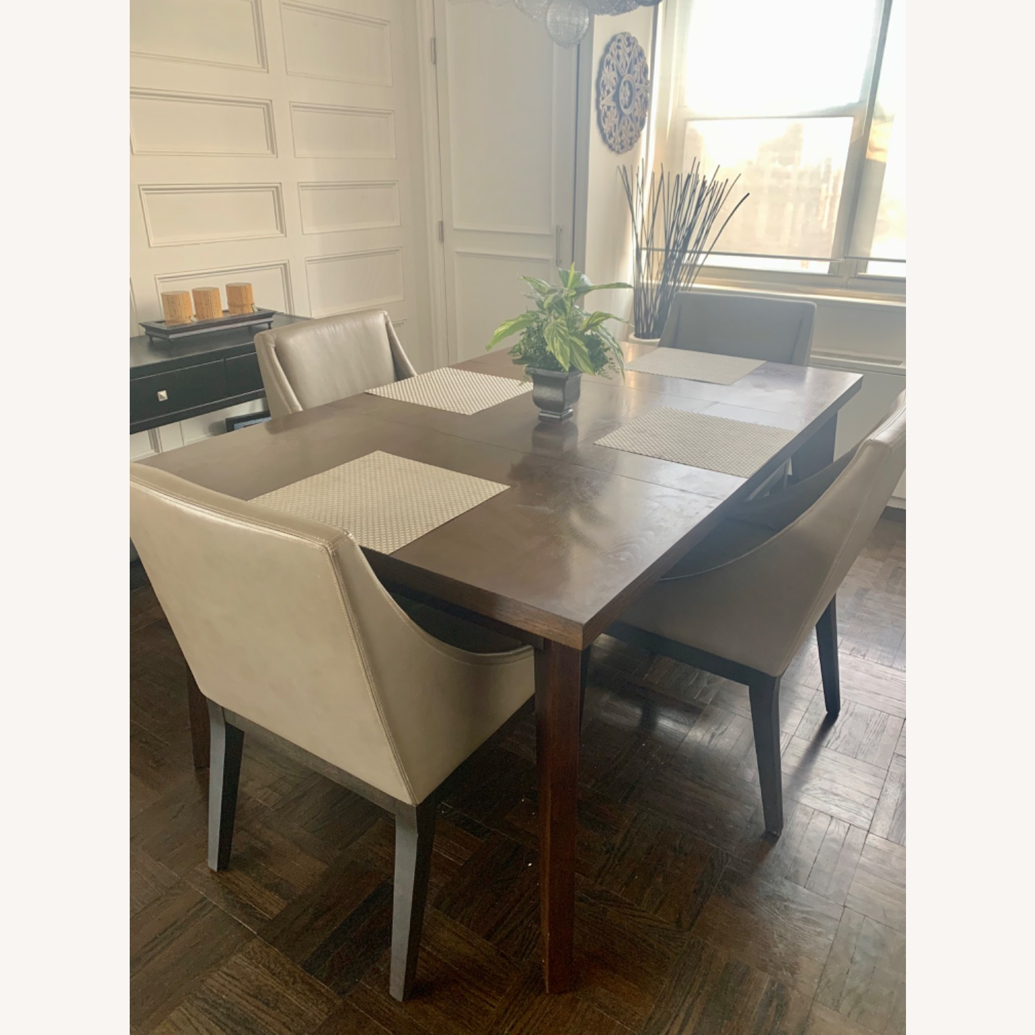 West Elm Dining Table + 4 Leather Chairs - image-4