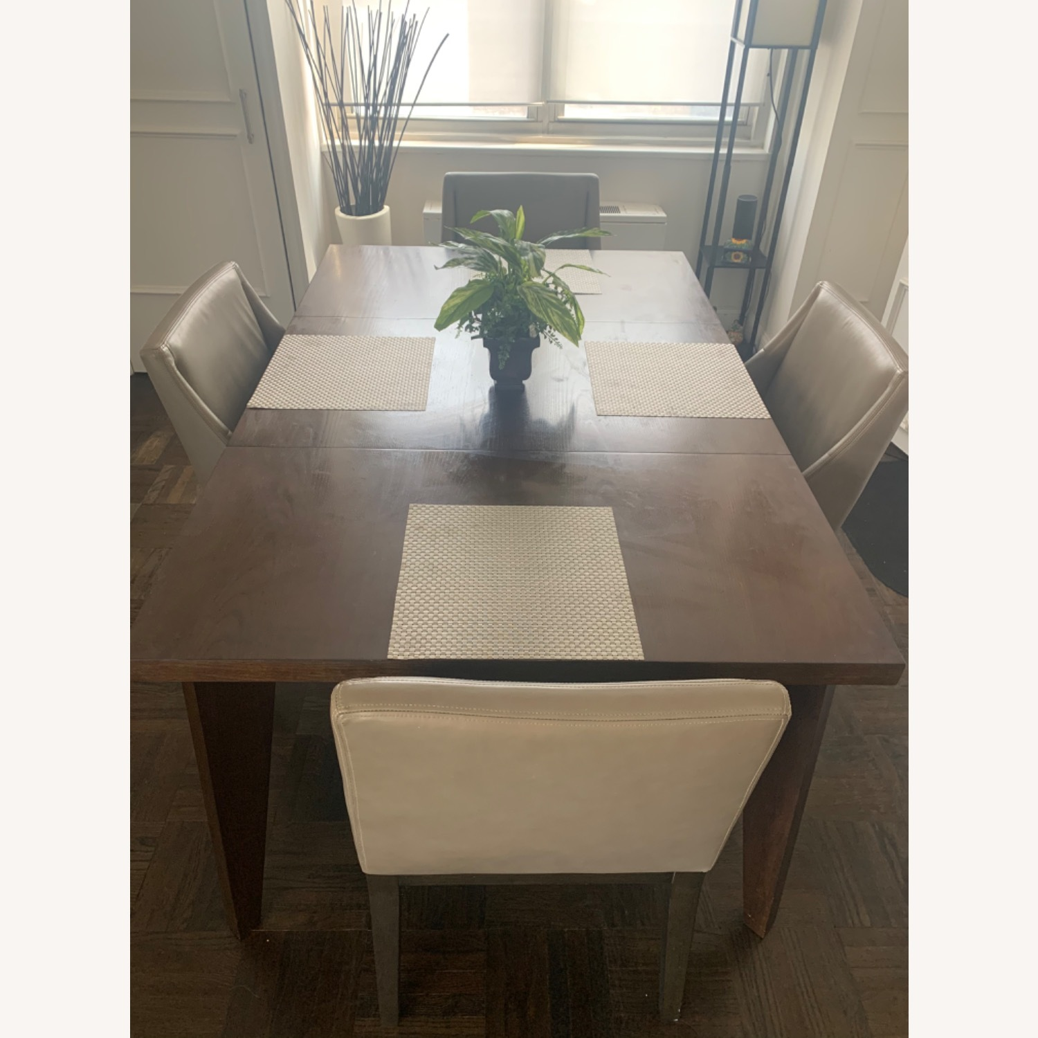 West Elm Dining Table + 4 Leather Chairs - image-6