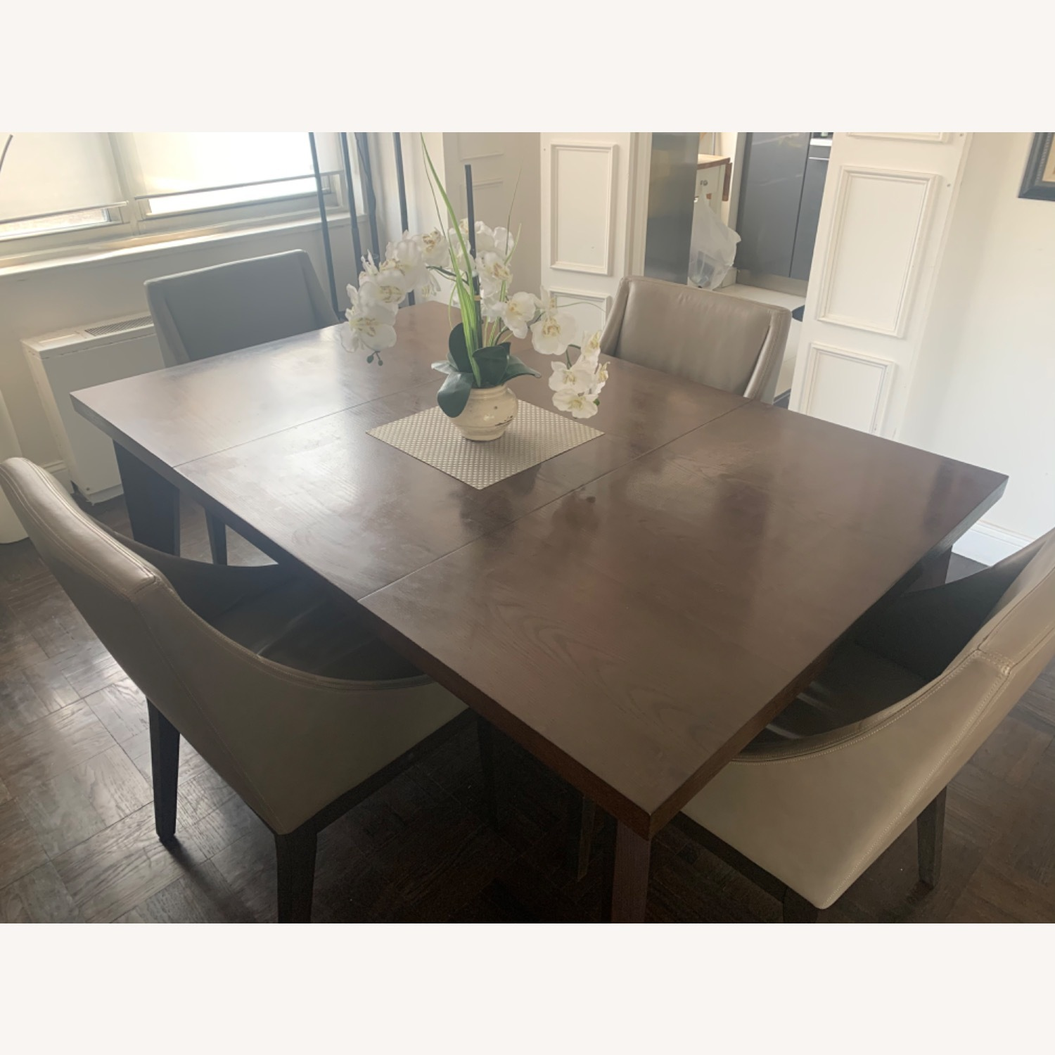 West Elm Dining Table + 4 Leather Chairs - image-1