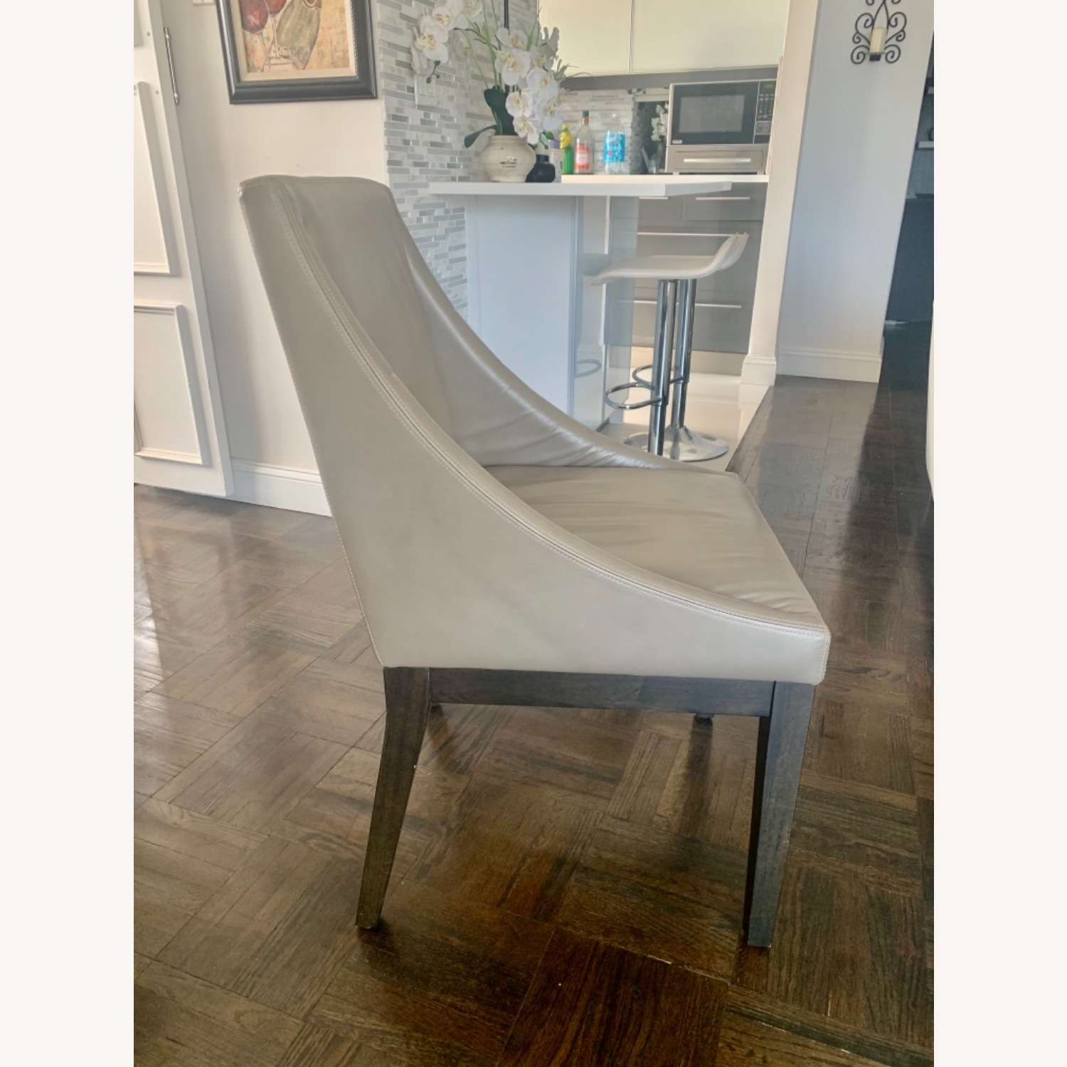 West Elm Dining Table + 4 Leather Chairs - image-9