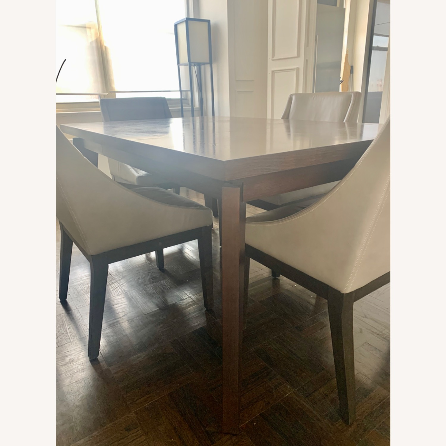 West Elm Dining Table + 4 Leather Chairs - image-2