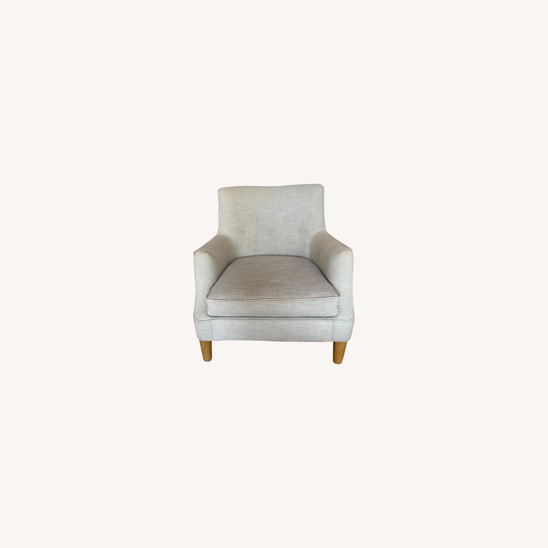 West Elm Natural Linen Accent Arm Chair - image-0