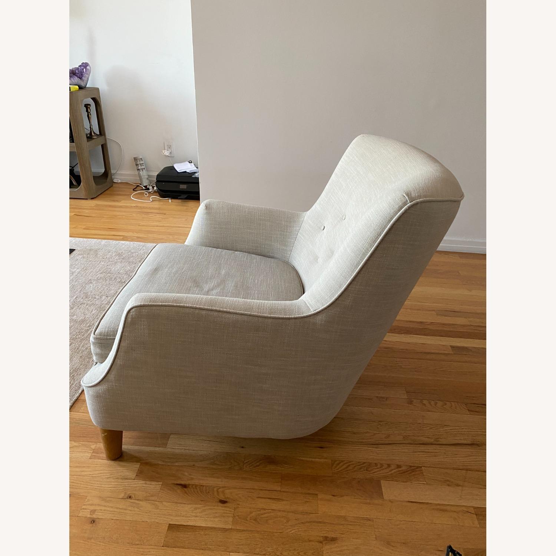 West Elm Natural Linen Accent Arm Chair - image-3