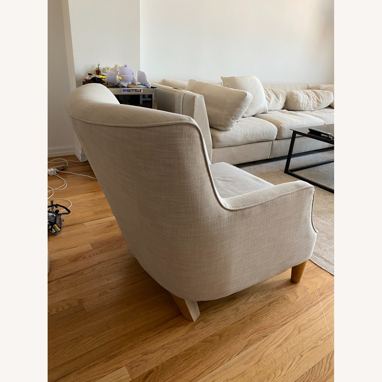 West Elm Natural Linen Accent Arm Chair - image-2