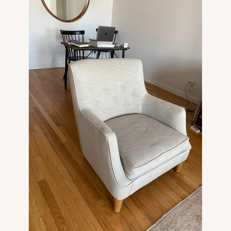 West Elm Natural Linen Accent Arm Chair - image-4