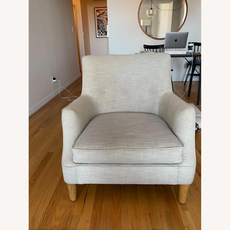 West Elm Natural Linen Accent Arm Chair - image-1