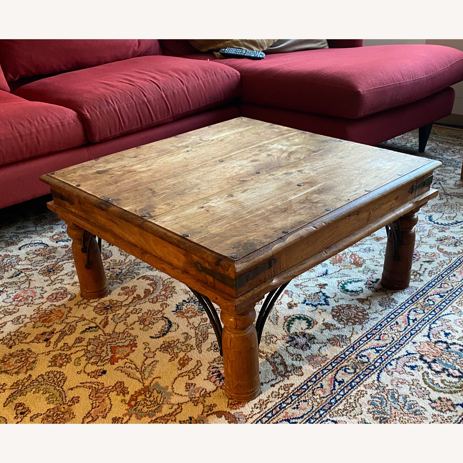Solid Oak Square Coffee Table - image-1
