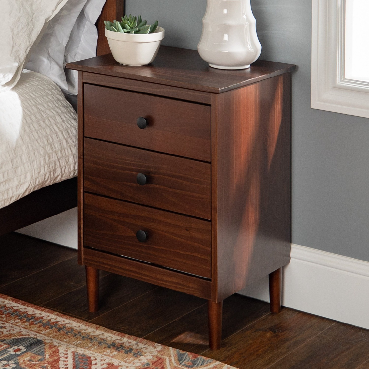 Spencer Solid Wood 3 Drawer Nightstand - image-1