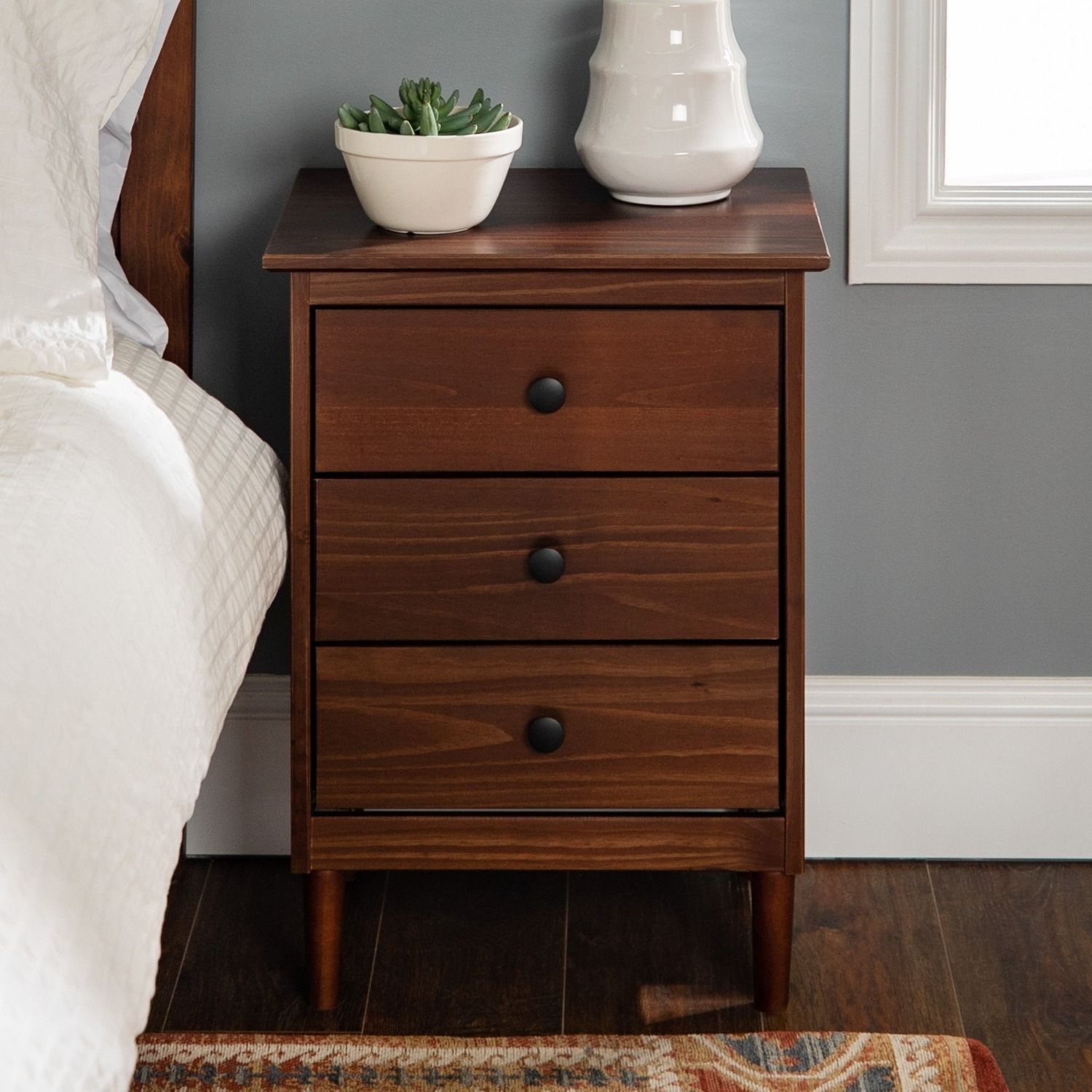 Spencer Solid Wood 3 Drawer Nightstand - image-2