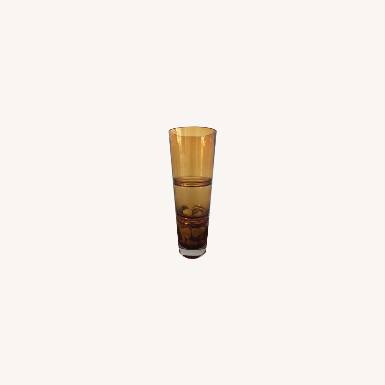 Crate & Barrel Amber Glass Vase - image-0