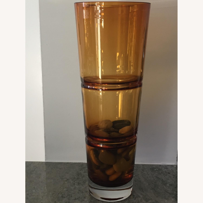 Crate & Barrel Amber Glass Vase - image-2
