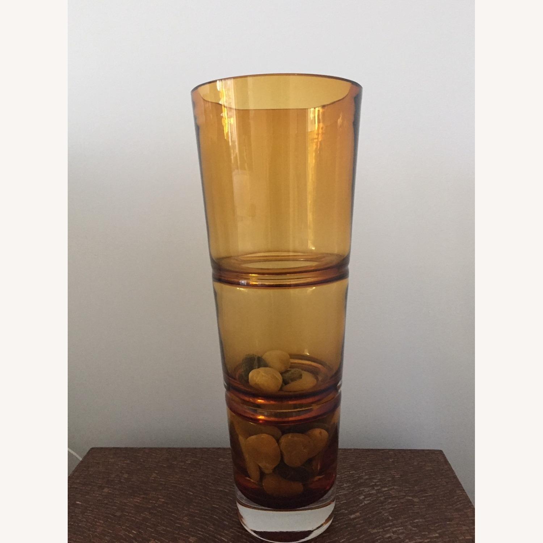 Crate & Barrel Amber Glass Vase - image-1