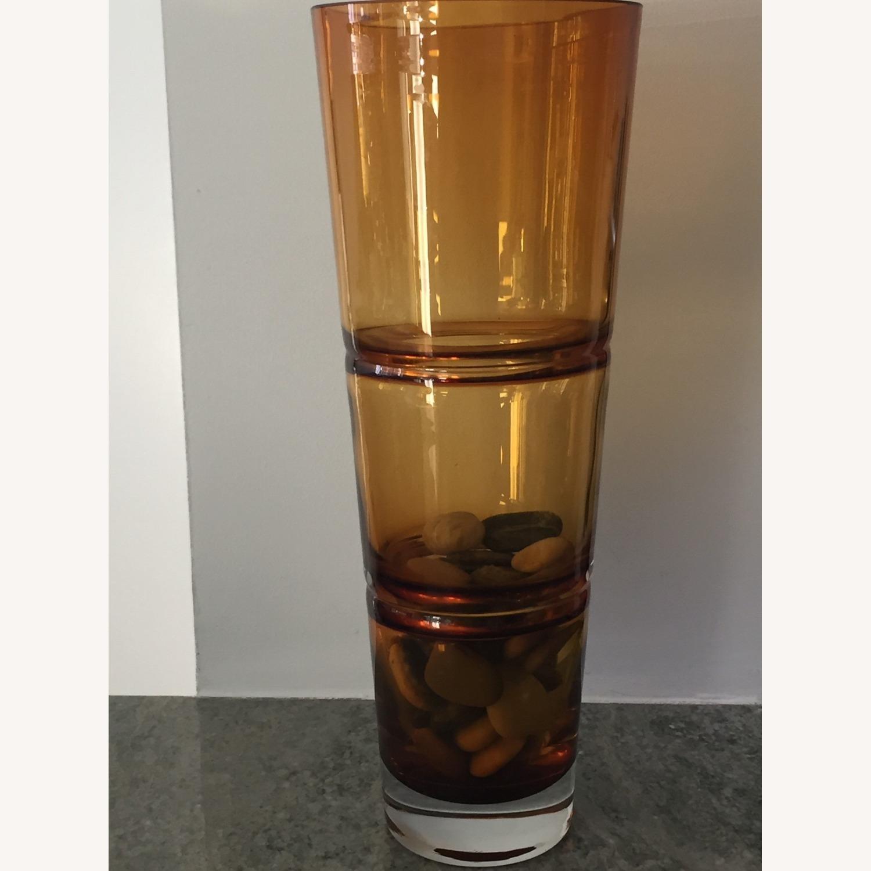 Crate & Barrel Amber Glass Vase - image-3