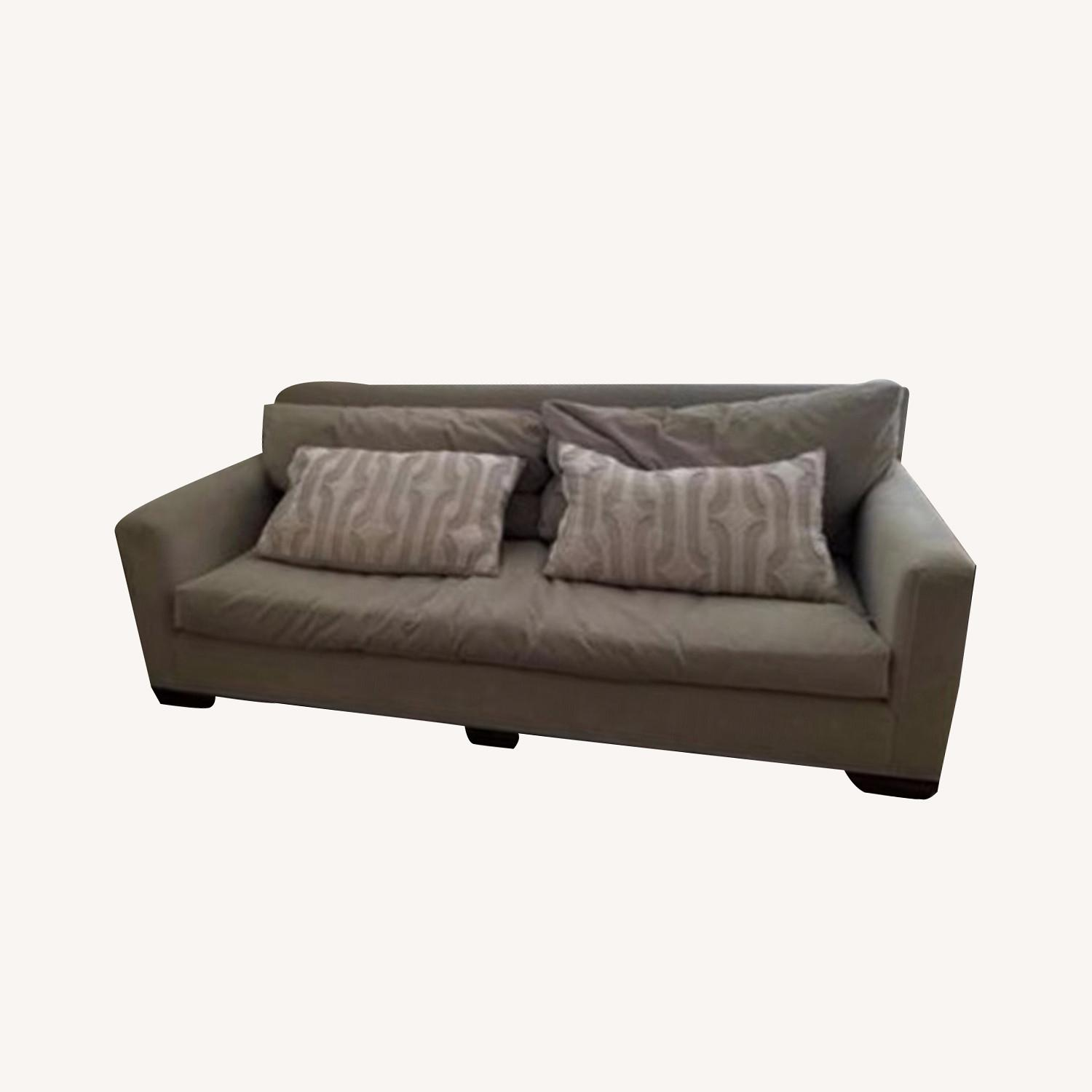 Taylor Made Custom Grey Couch w Wood Legs. - image-0