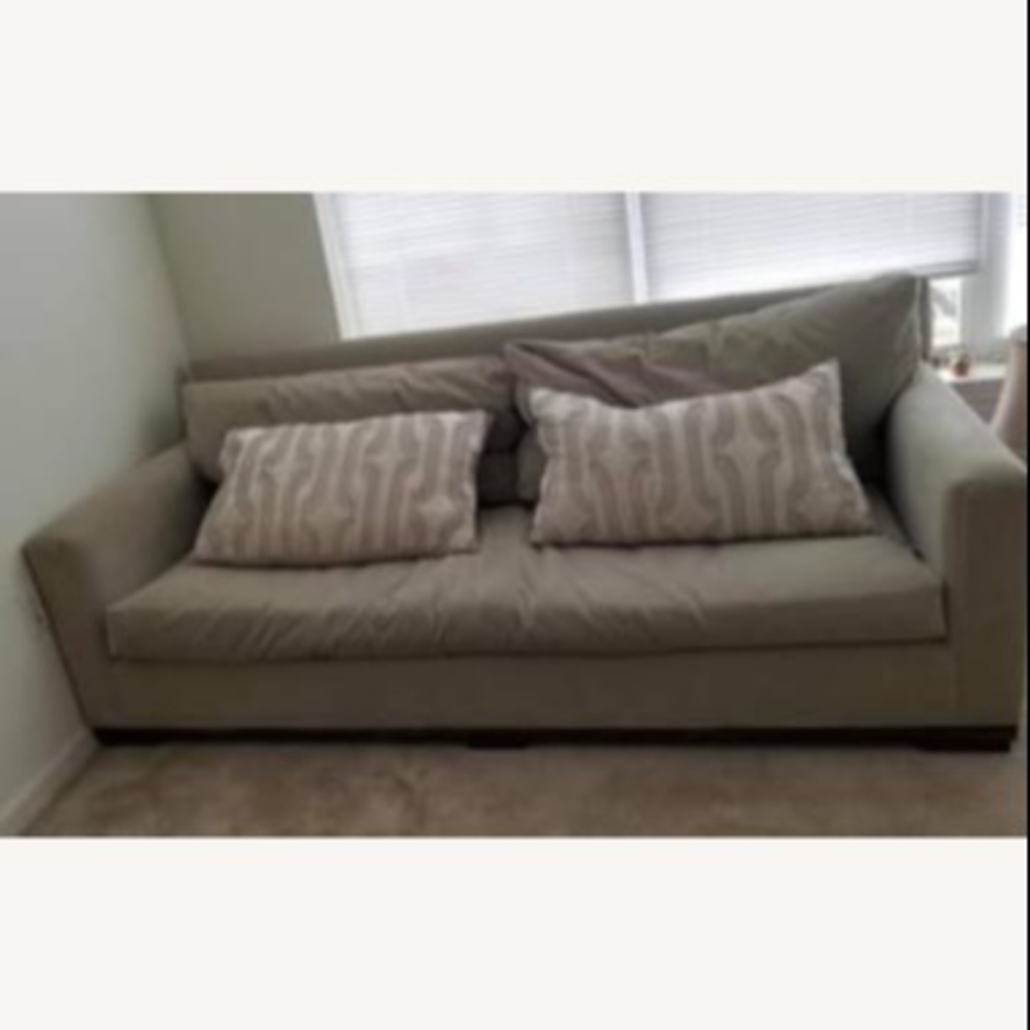 Taylor Made Custom Grey Couch w Wood Legs. - image-1