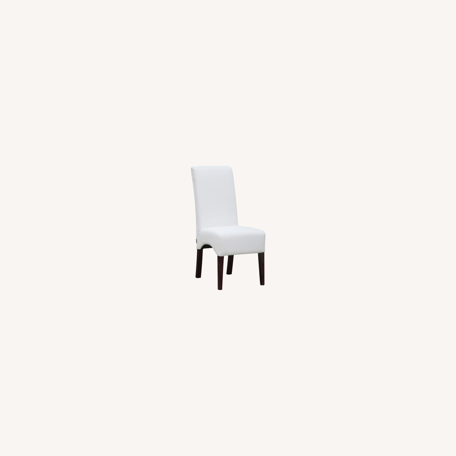 Modern Dining Chair In White PU Leather - image-6