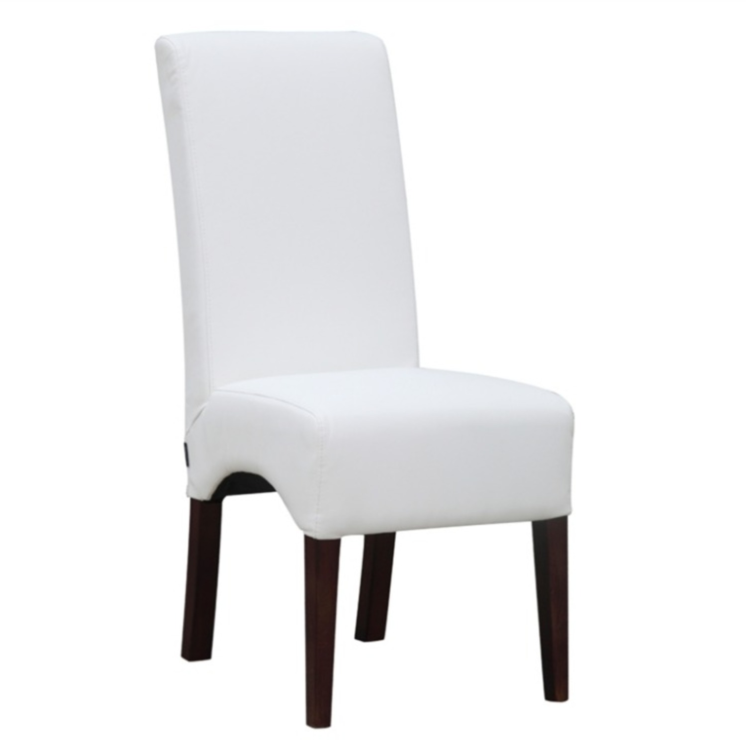 Modern Dining Chair In White PU Leather - image-0
