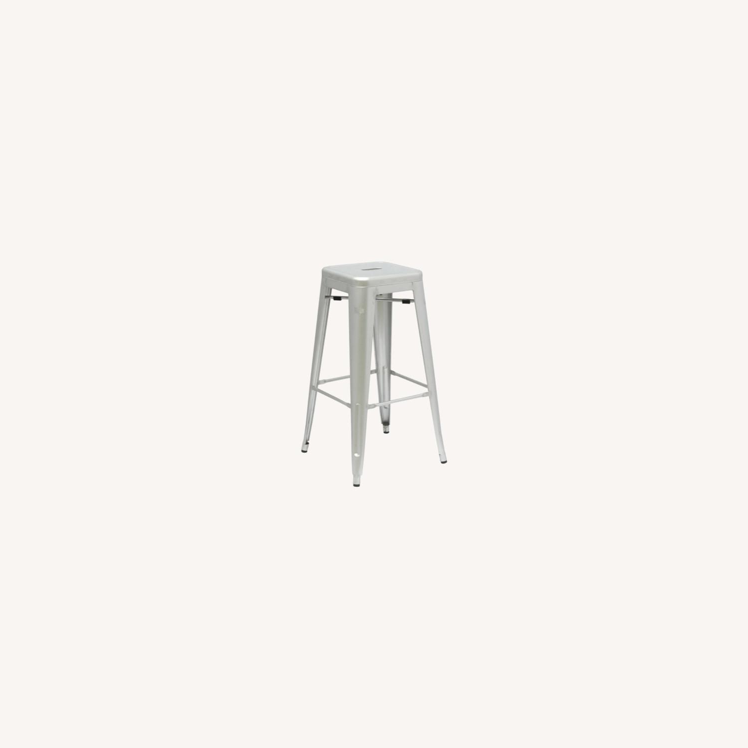 Contemporary Bar Stool In Silver Galvanized Steel - image-6