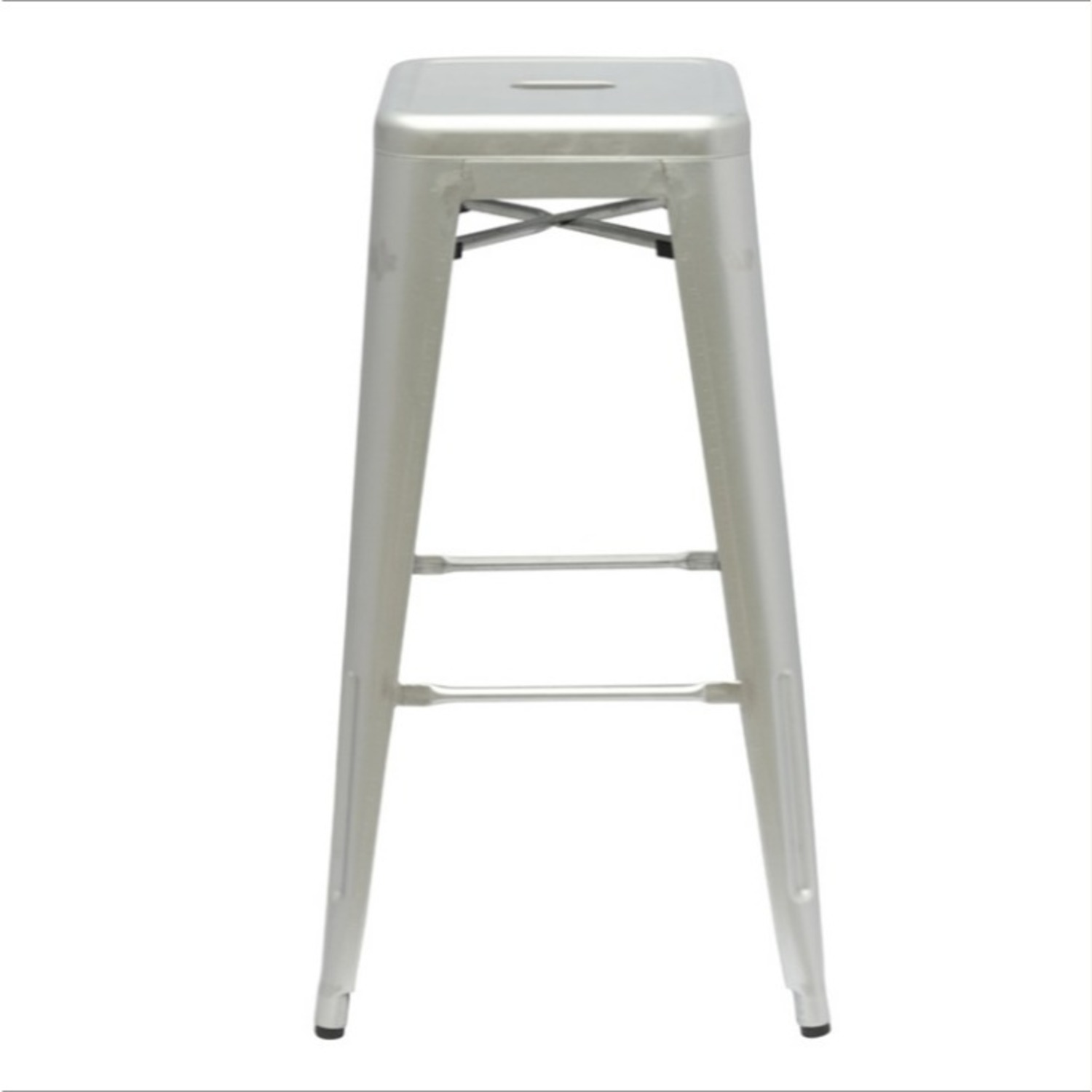 Contemporary Bar Stool In Silver Galvanized Steel - image-1