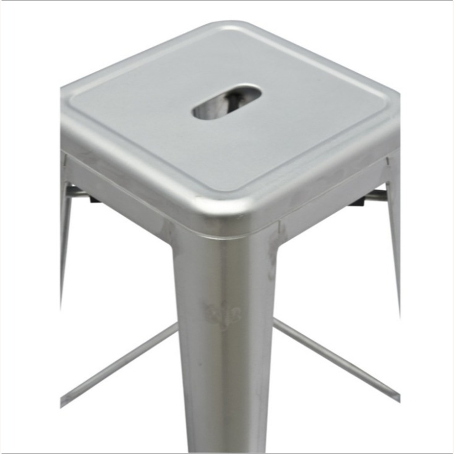 Contemporary Bar Stool In Silver Galvanized Steel - image-5