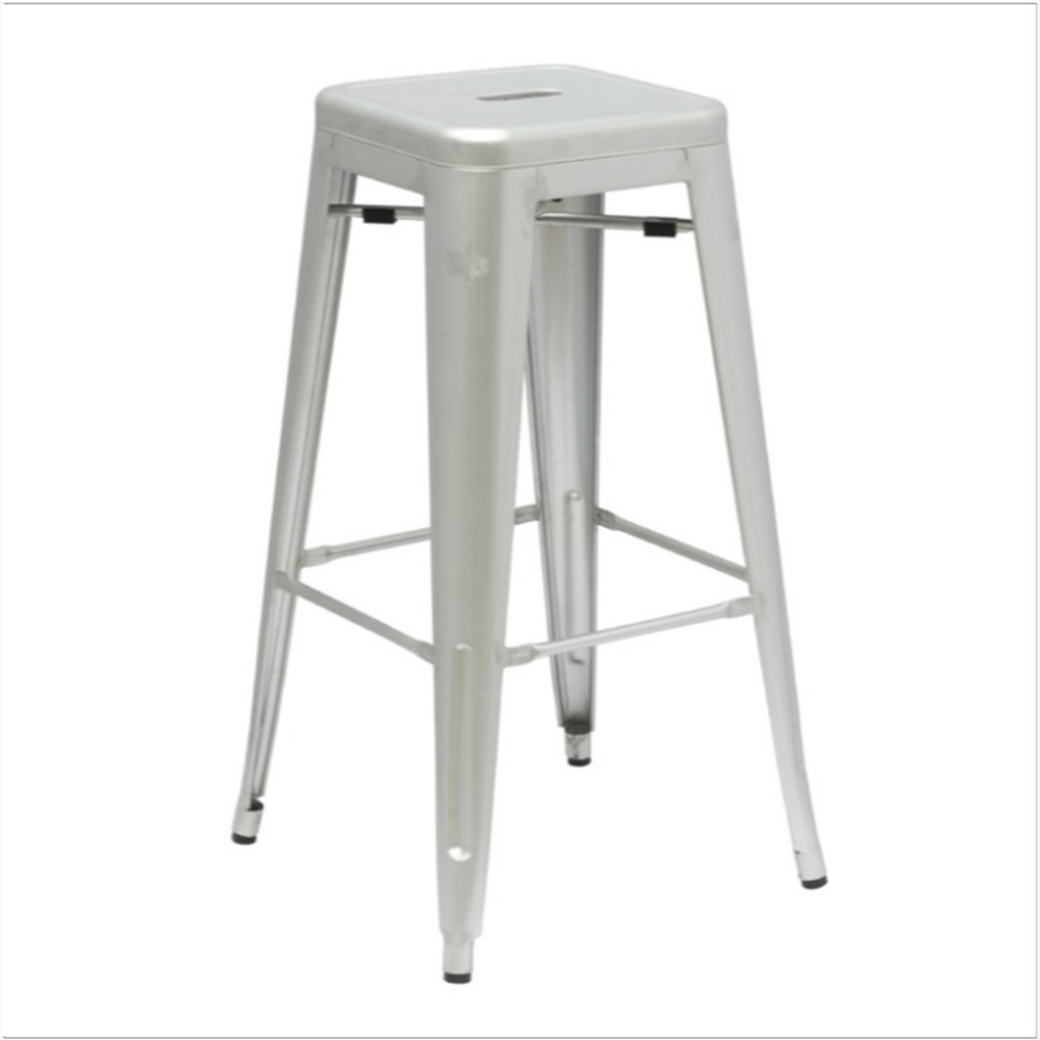 Contemporary Bar Stool In Silver Galvanized Steel - image-0