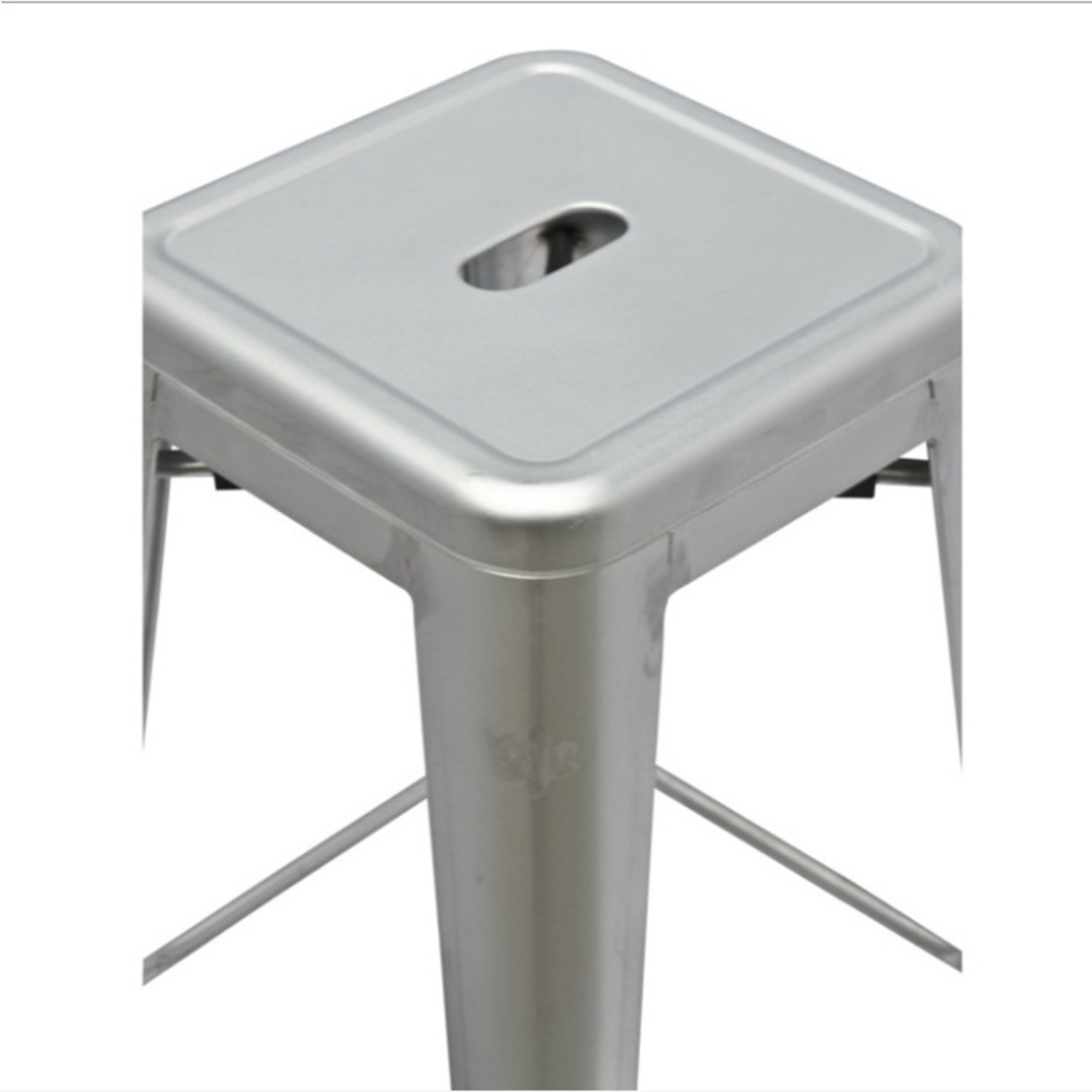 Contemporary Bar Stool In Silver Galvanized Steel - image-2
