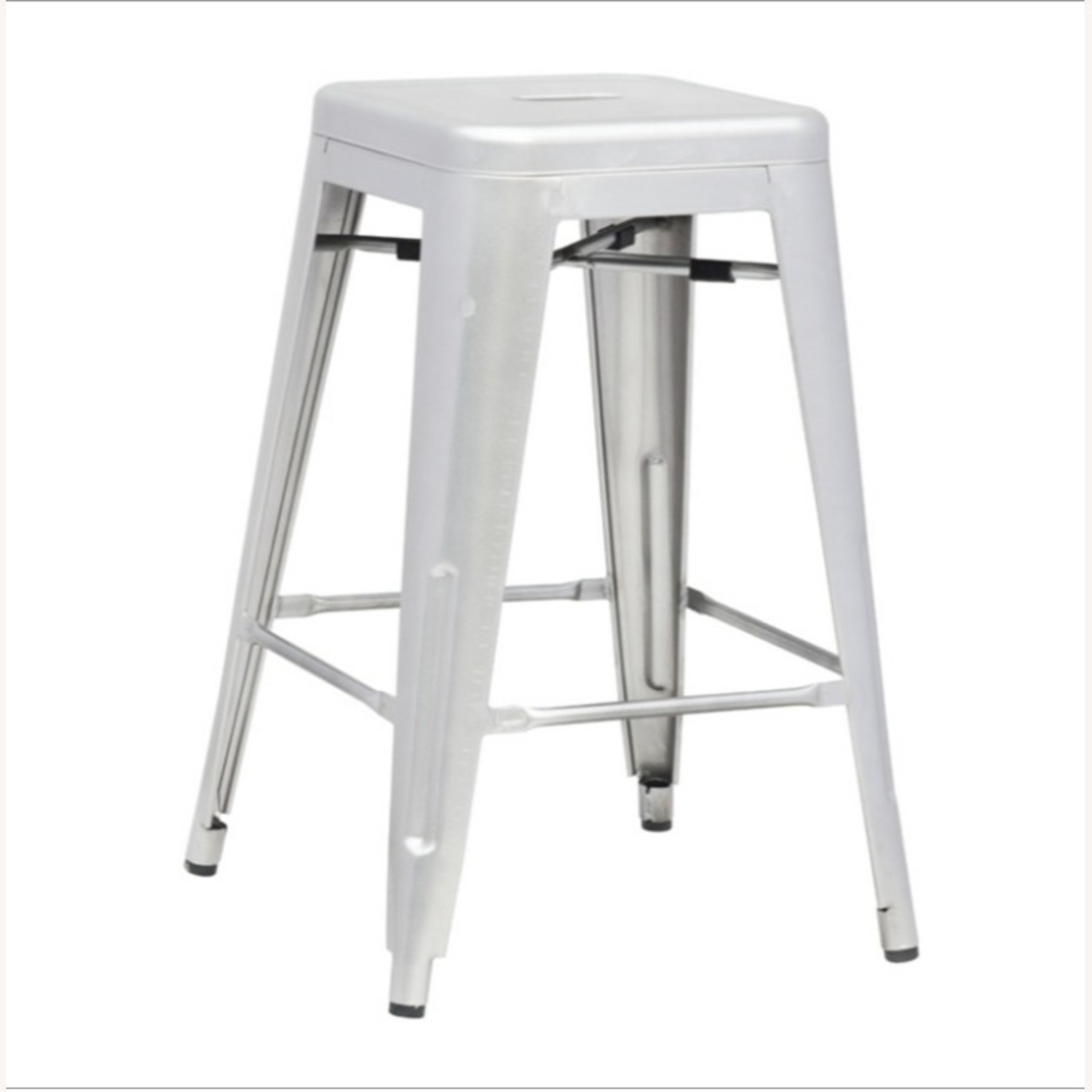 Contemporary Bar Stool In Silver Galvanized Steel - image-3