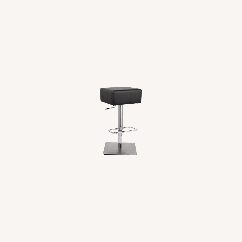 Adjustable Bar Stool In Black Leatherette - image-3