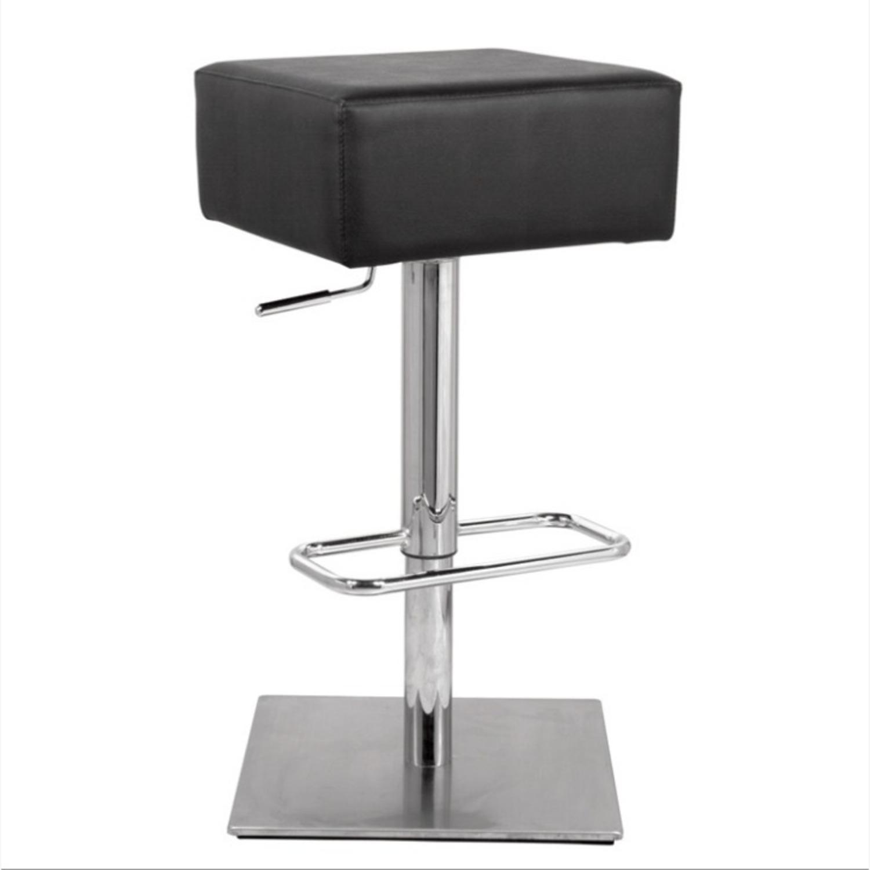 Adjustable Bar Stool In Black Leatherette - image-1
