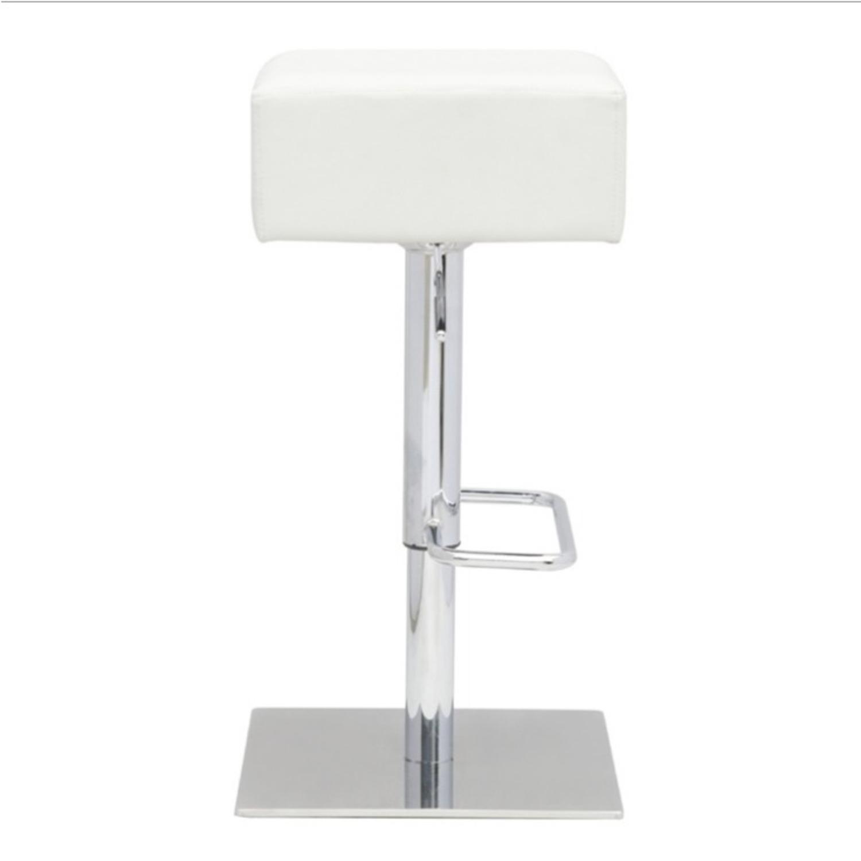 Adjustable Bar Stool In White Leatherette - image-1