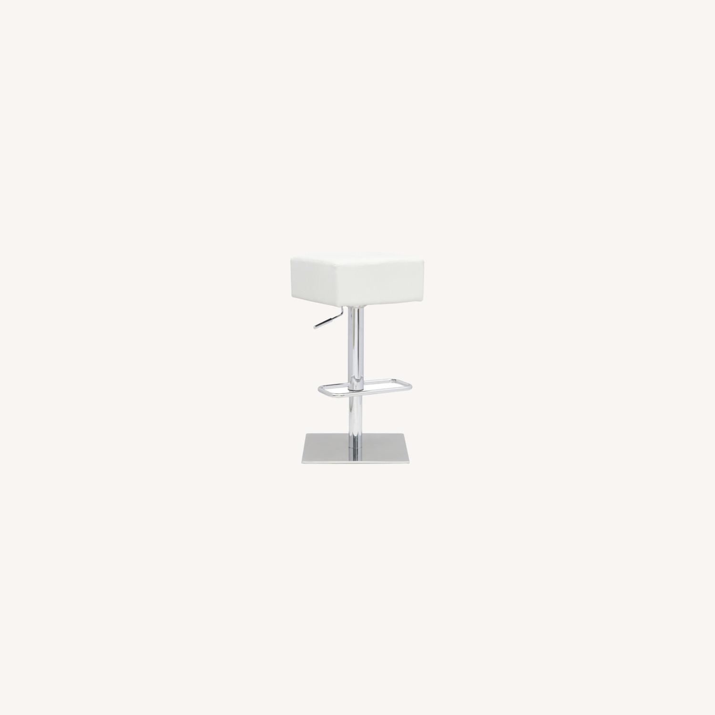 Adjustable Bar Stool In White Leatherette - image-3