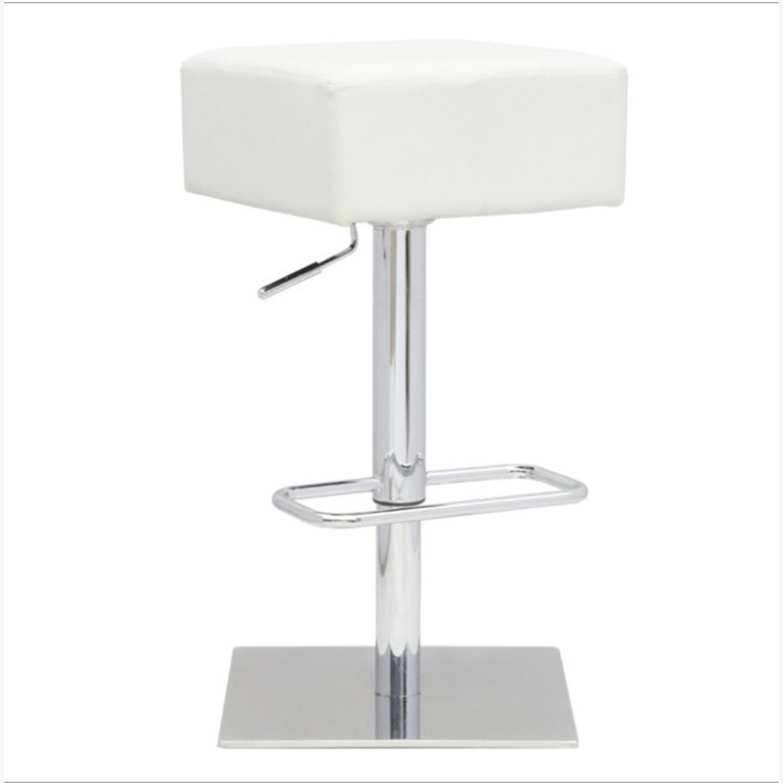Adjustable Bar Stool In White Leatherette - image-0