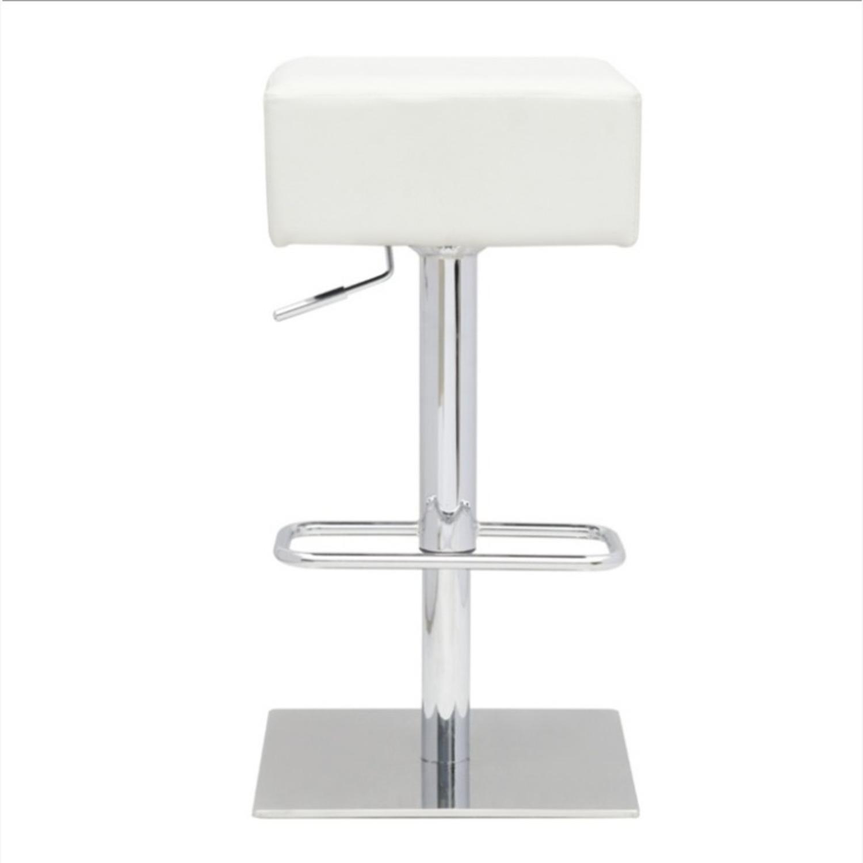 Adjustable Bar Stool In White Leatherette - image-2
