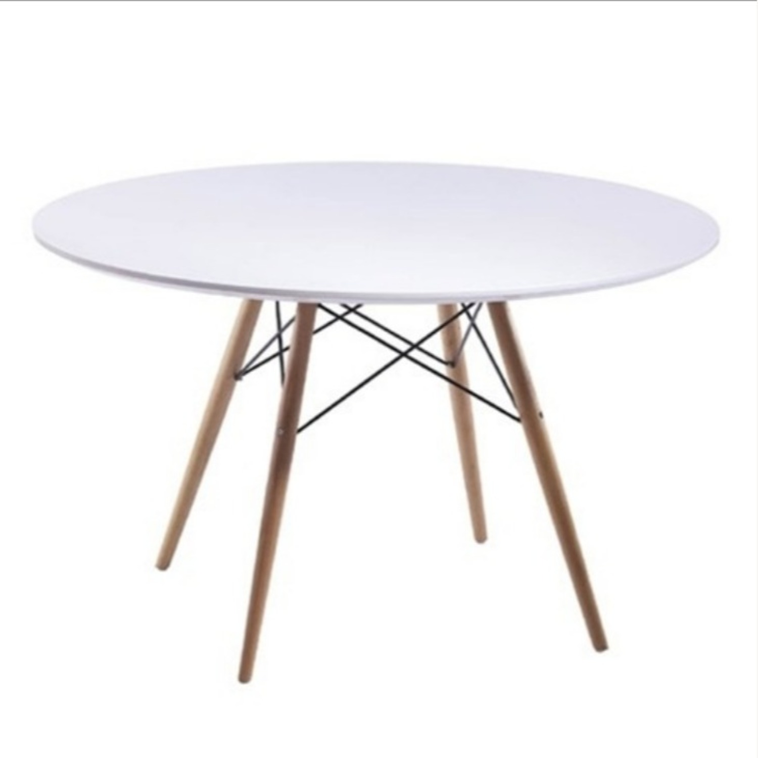 """48"""" Dining Table In White W/ Fiberglass Top - image-0"""