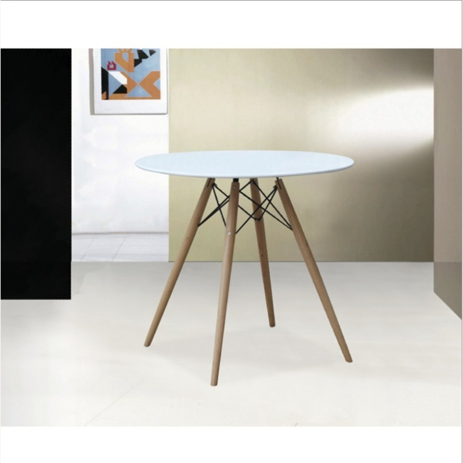 """48"""" Dining Table In White W/ Fiberglass Top - image-5"""