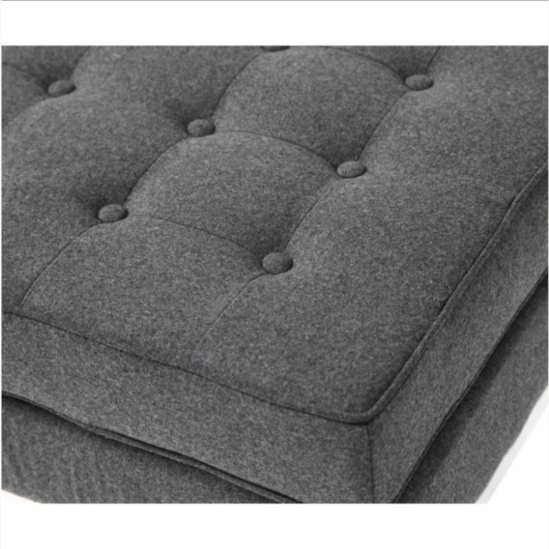 Ottoman In Gray Wool W/ Steel Base - image-3