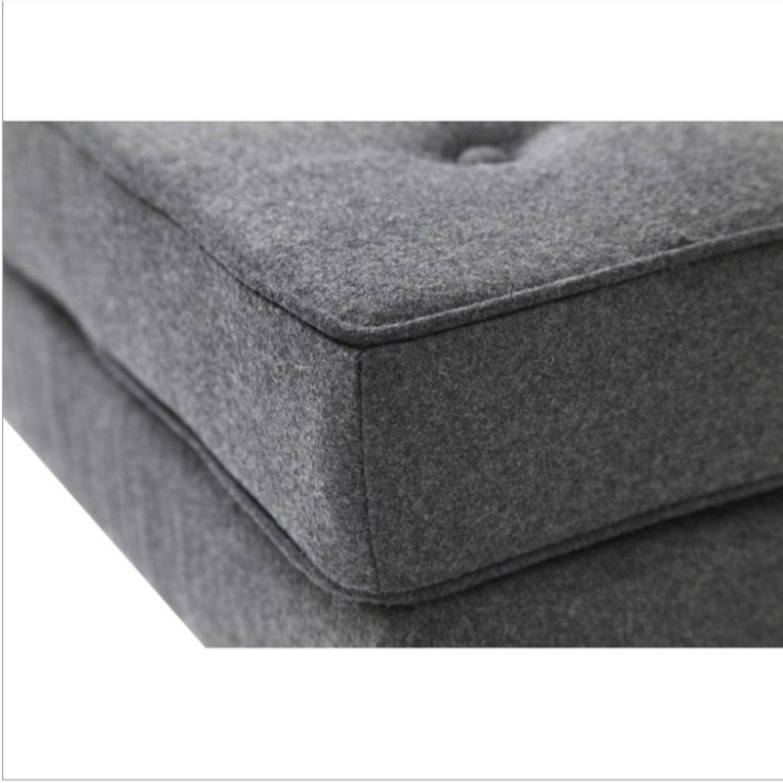 Ottoman In Gray Wool W/ Steel Base - image-2