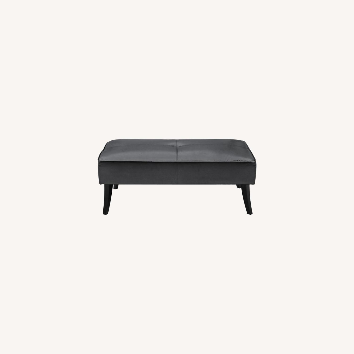 Bench In Black Bonded Leather W/ Wood Frame - image-6