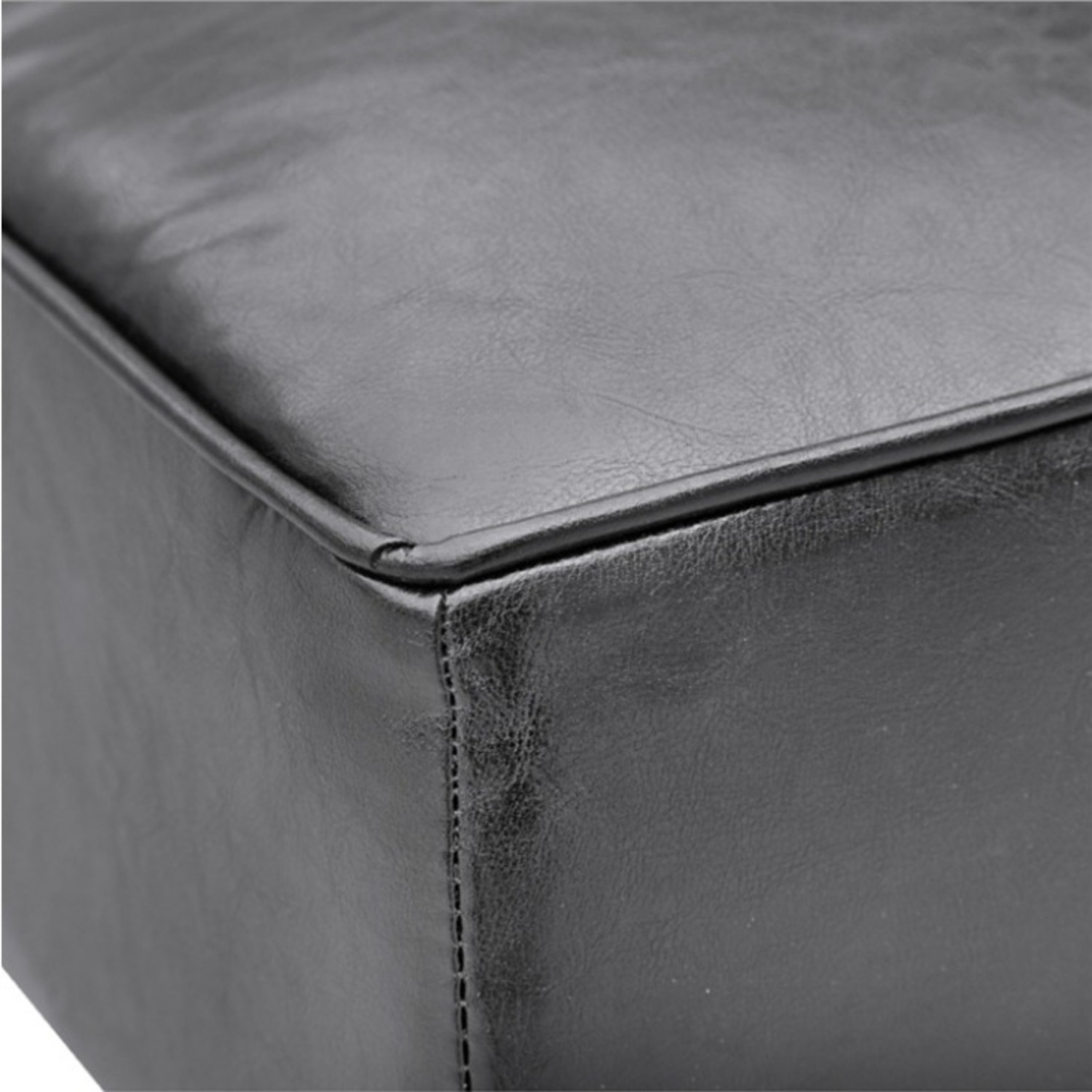 Bench In Black Bonded Leather W/ Wood Frame - image-4