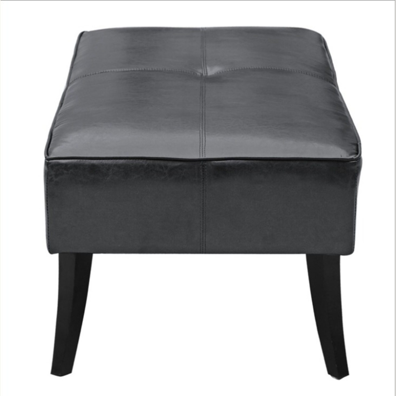 Bench In Black Bonded Leather W/ Wood Frame - image-2