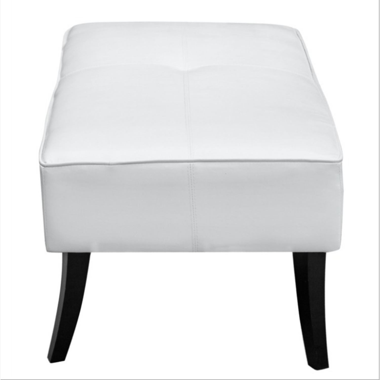 Bench In White Bonded Leather W/ Wood Frame - image-2