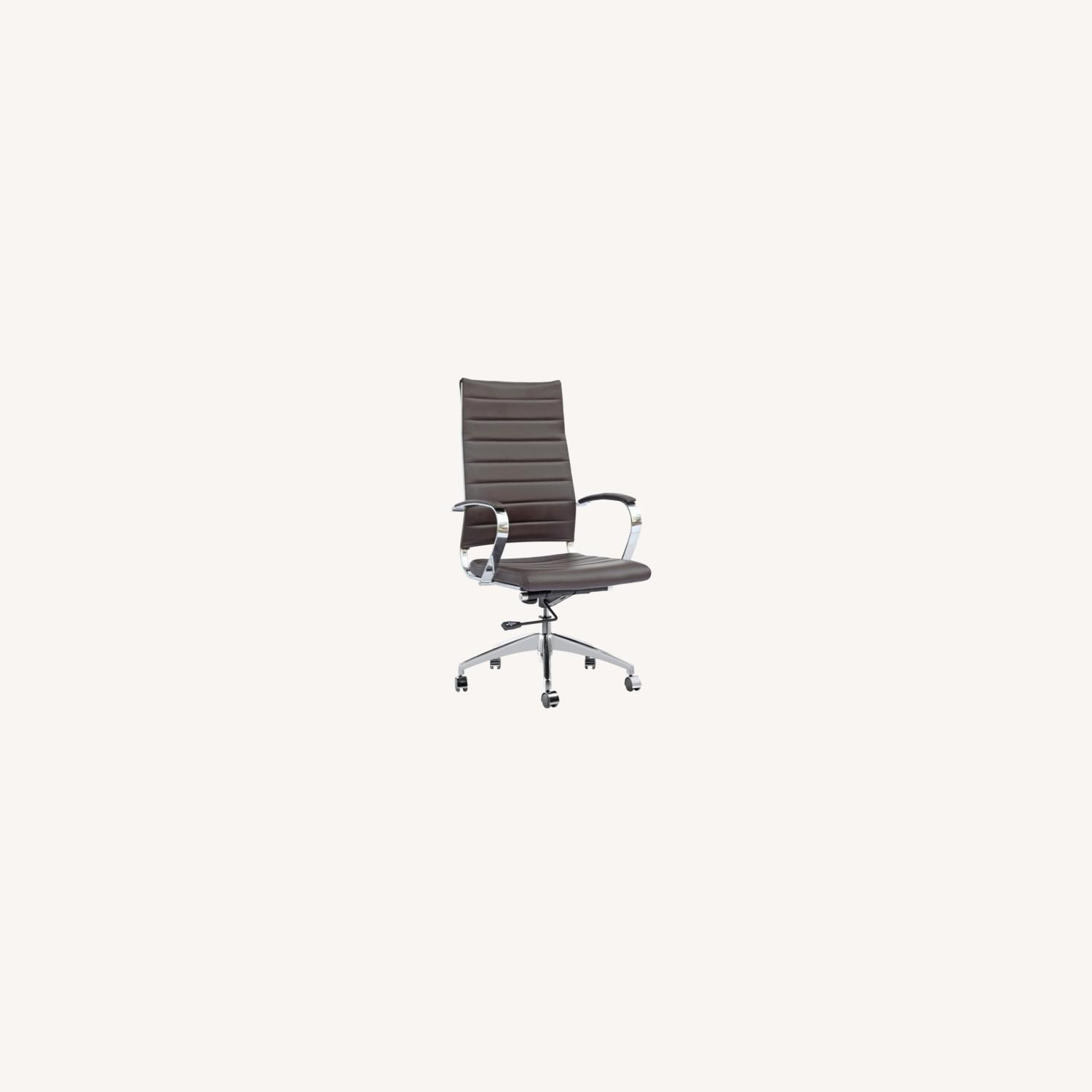Office Chair W/ High Back Seat In Dark Brown - image-3