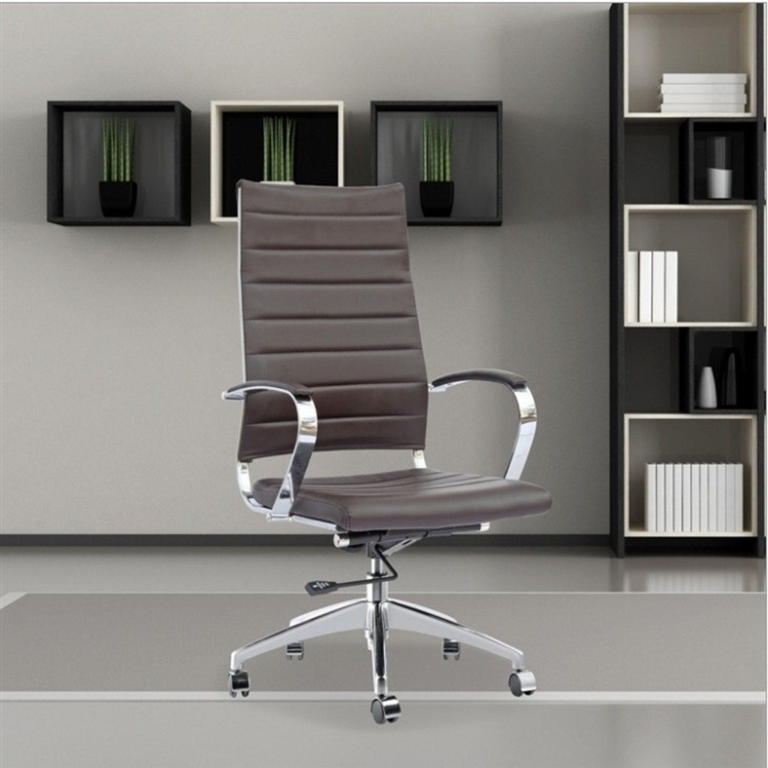 Office Chair W/ High Back Seat In Dark Brown - image-2