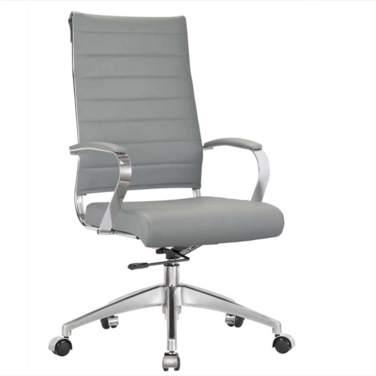 Office Chair W/ High Back Seat In Grey Leather - image-0