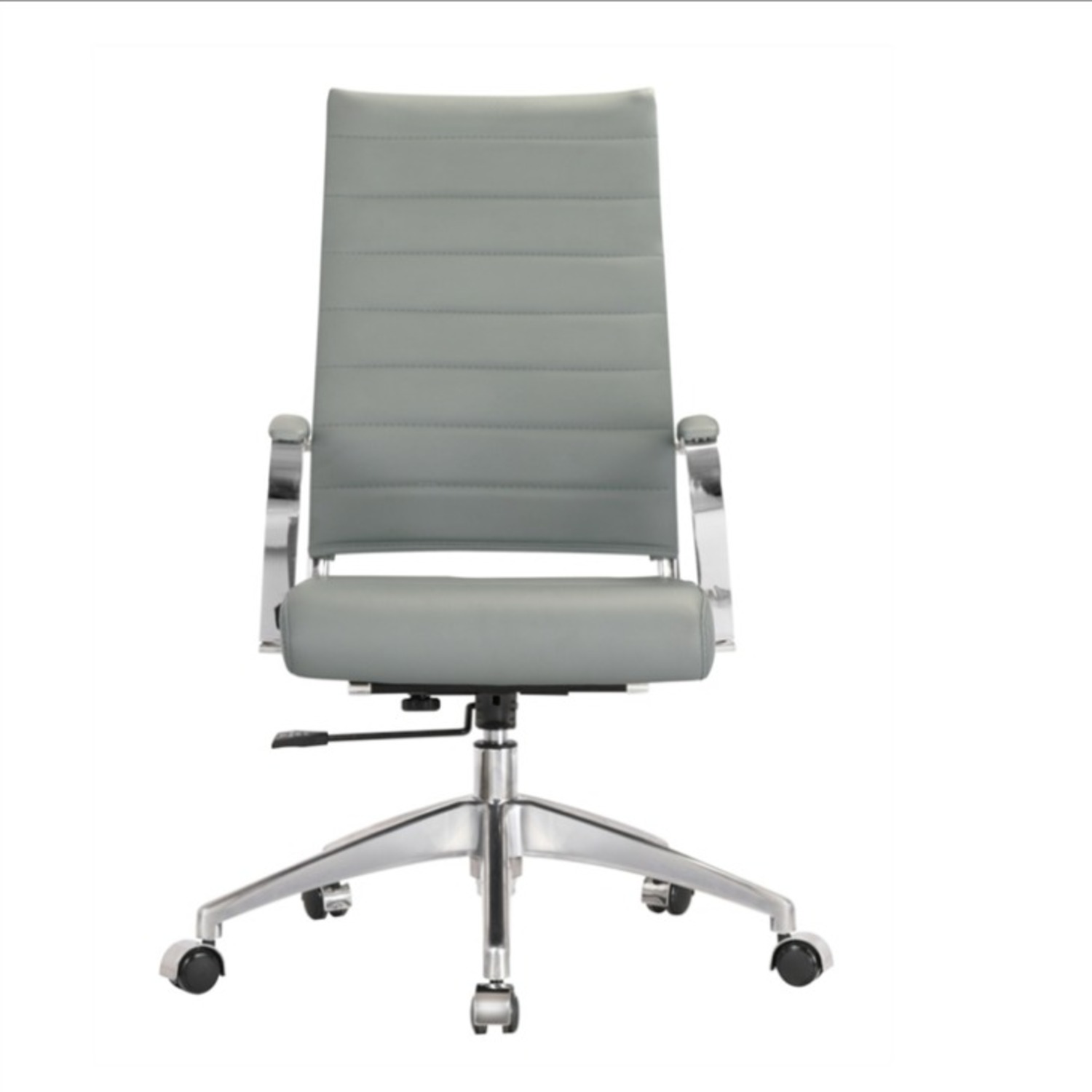Office Chair W/ High Back Seat In Grey Leather - image-1