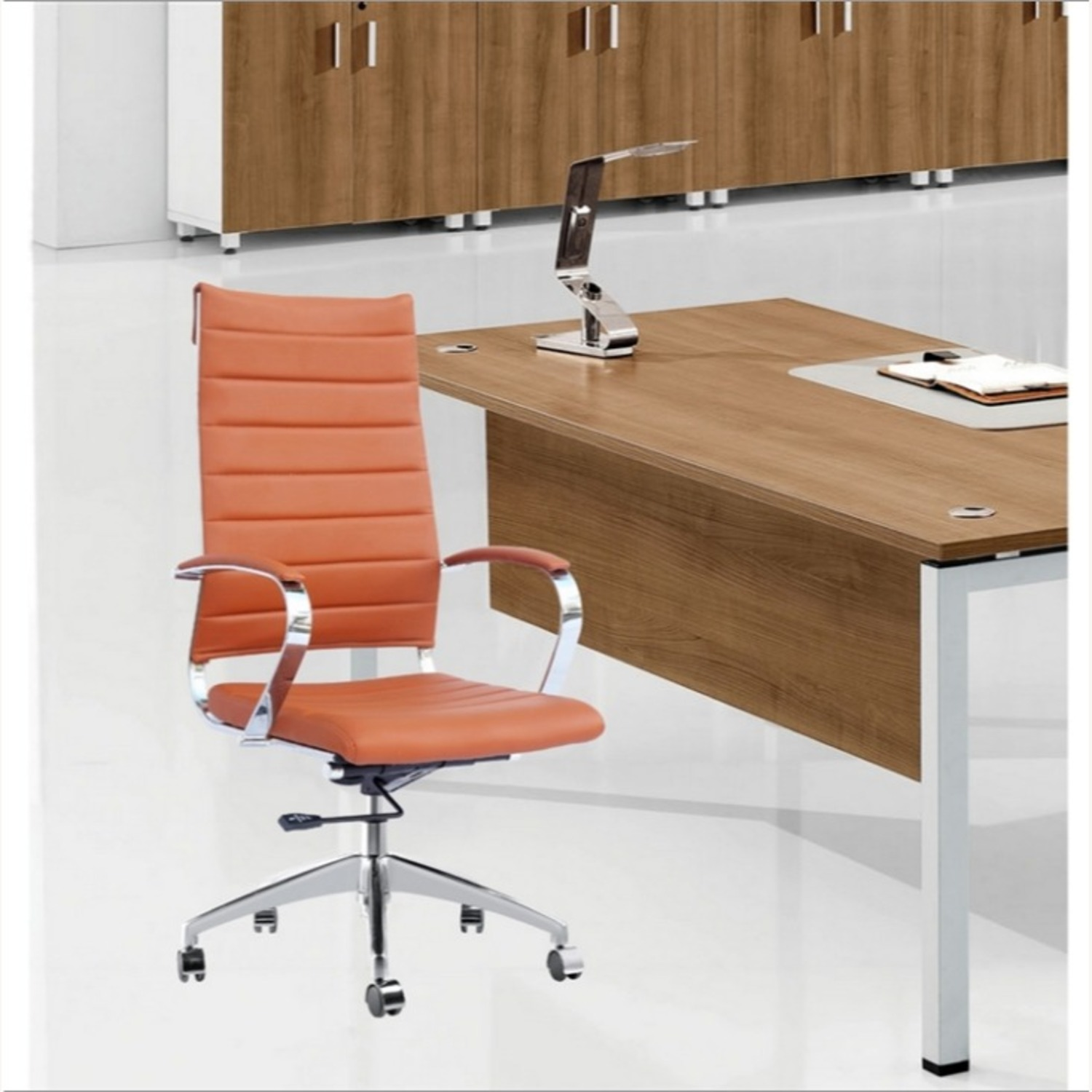 Office Chair W/ High Back Seat In Light Brown - image-2