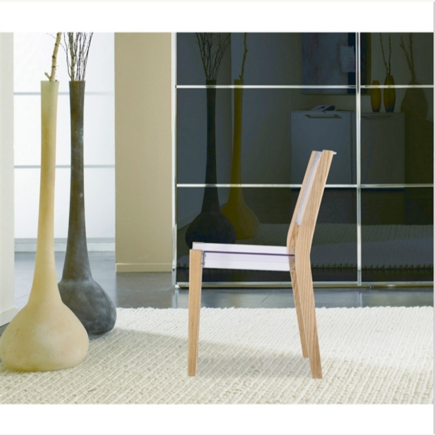 Side Chair In Natural Wood & Transparent Seat - image-3