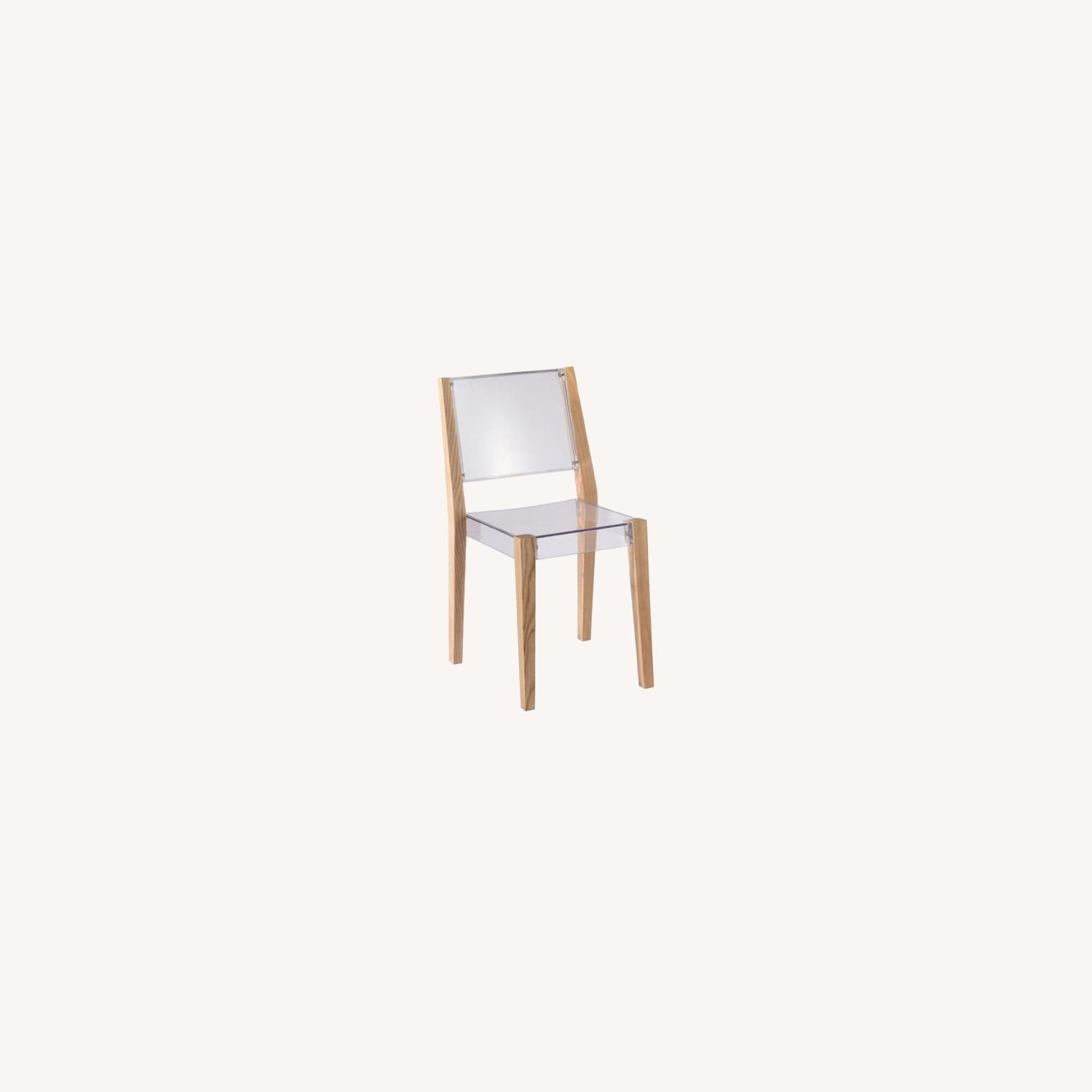 Side Chair In Natural Wood & Transparent Seat - image-4