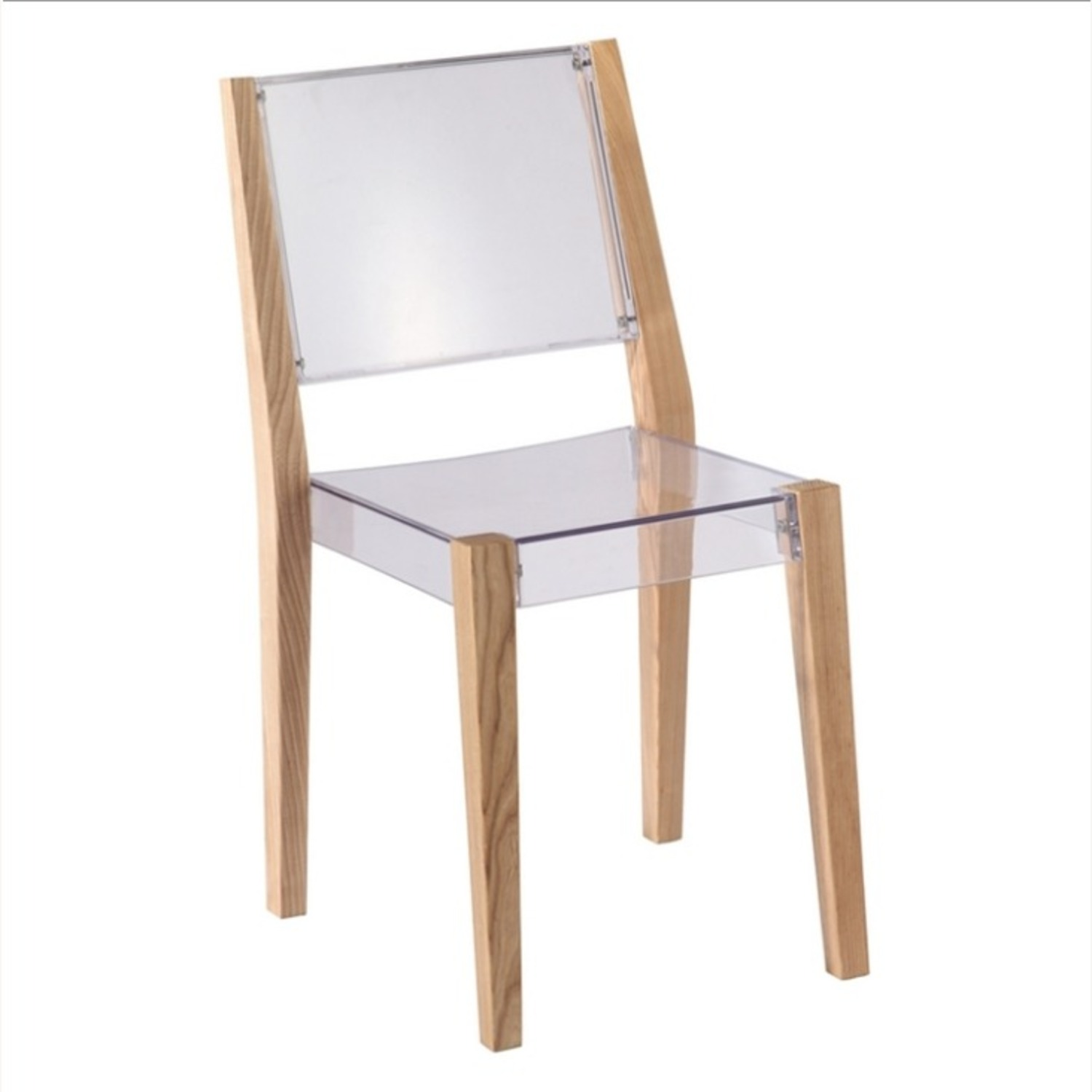 Side Chair In Natural Wood & Transparent Seat - image-0