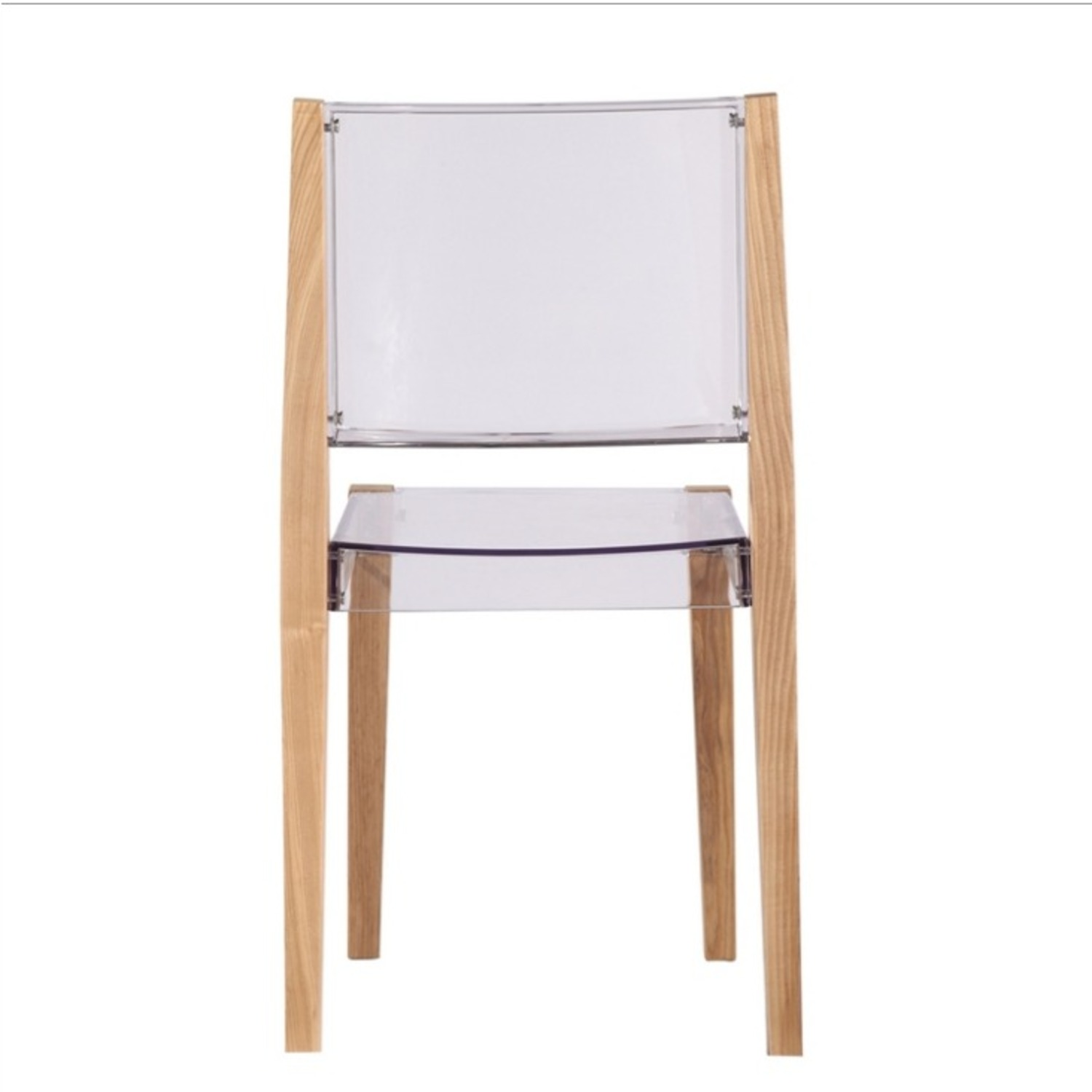 Side Chair In Natural Wood & Transparent Seat - image-2